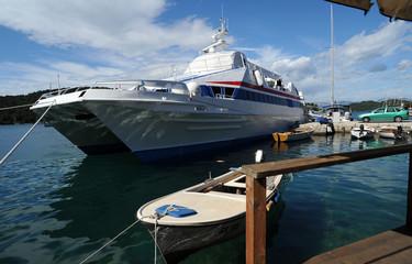 Catamaran Dubrovnik-Mljet ancré à l'île de Mljet