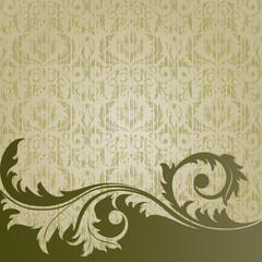 Beige  retro background with  flowers and leaves