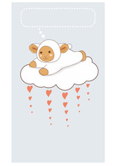 Lamb on a cloud.St. Valentine's Day