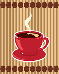 Coffee Cup on Striped Background