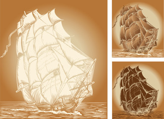 set of color backgrounds with old ship