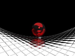 Papiers peints Rouge, noir, blanc Metallblattenmuster mit Kugel