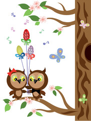 Two owls at the tree,easter