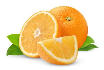 Isolated oranges. Orange fruit pieces isolated on white background