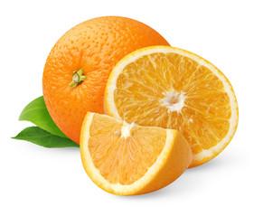 Isolated orange fruits. Cut oranges with leaves isolated on white background