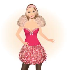 Fashion illustration-Beautiful girl in pink dress
