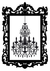 picture frame with chandelier, vector
