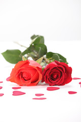 Red & Coral Roses with Hearts