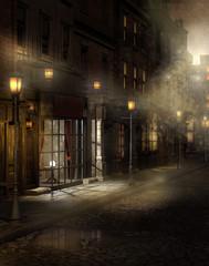 Fototapeta Wiktoriańska ulica nocą we mgle obraz