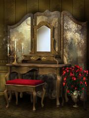 Toaletka retro z różami