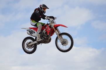 Russia, Samara, motocross rider jump, blue sky