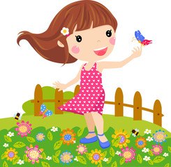 Illustration little girl and butterfly