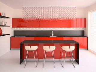 Modern red kitchen.