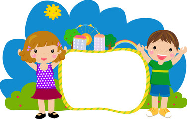 kids and frame-vector
