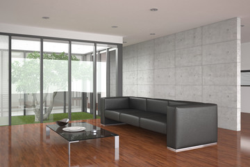 modern living room with parquet floor