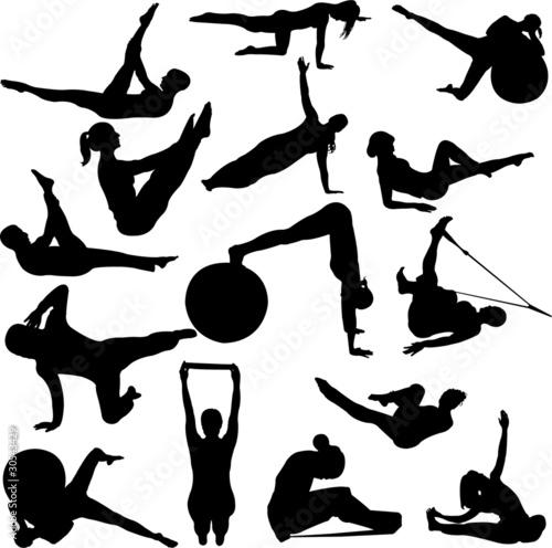 Pilates women silhouettes vector immagini e vettoriali for Scarica clipart