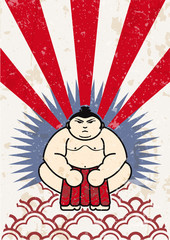 japanese sumo wrestler vector label