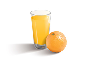 orange juice on the white background