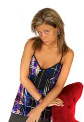 Blond female model in studio over white background.
