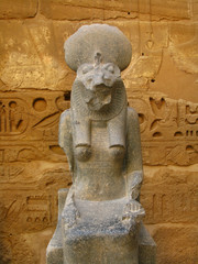Statue of Sekhmet goddess at temple of Medinet Habu. Luxor