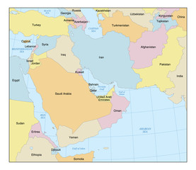 Middle East Map with Countries & Labels