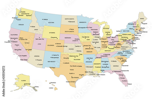 USA Map with Capital Cities Major Cities Labels Stock image