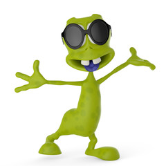 alien cartoon with sunglass