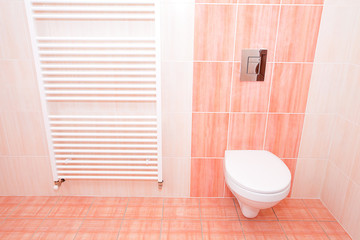 interior bathroom with pink tile in the house