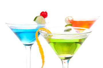Martini alcohol cocktails green red blue