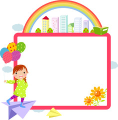 cute little girl and frame