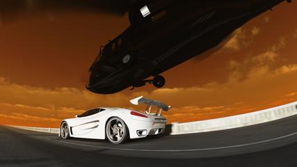 スポーツカーとヘリコプター