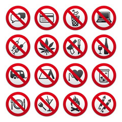 Set of Prohibited Signs