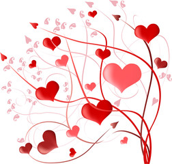 design with red hearts