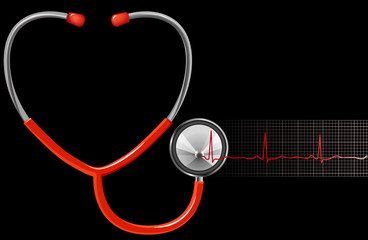 ECG and Stethoscope in black