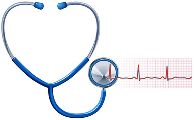 ECG and Stethoscope isolated in white, vector