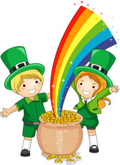 Fotobehang Regenboog Kids Standing in Front of a Pot of Gold