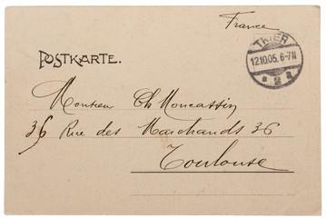 rückseite alte postkarte frankreich