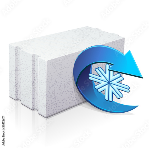 Parpaing de b ton cellulaire isolant du froid reflet stock image and royalty free vector - Store isolant du froid ...