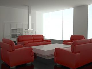 Interior of modern new large kitchen