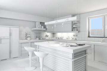 3d clay rander of a modern kitchen