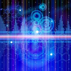 technology background: chemical formulas, digital wave