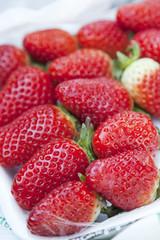 strawberry  in the street market macro