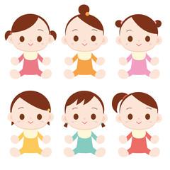 赤ちゃん 女の子 6人