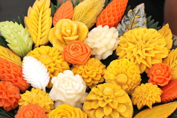 Art of thai fruits and vegetables carving