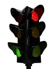 Traffic light over white background