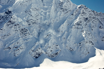 Avalanche in the mountains.