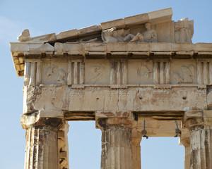 detail of Parthenon with statues, Acropolis, Athens Greece