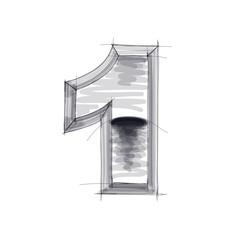 3d metal figure sketch - 1. Eps10