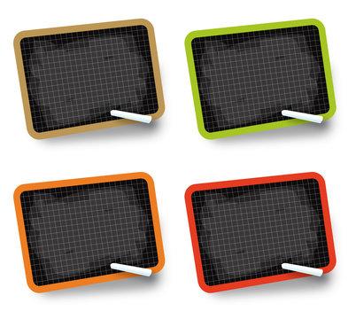 Ardoises 4 couleurs + craies (vecteurs)