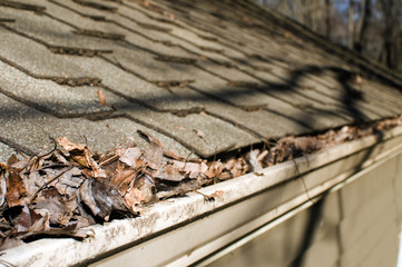house roof gutter filled with leaves autumn